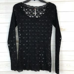 Free People Black Lace Knit Sheer Top M Long Slv